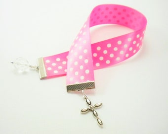Pink with White Polka Dots Satin Ribbon Bookmark with Cross Charm / Gifts under 10 / Stocking Stuffers
