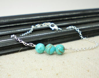 Sterling Silver and Turquoise Howlite Bracelet / Beaded Silver Jewelry / Gifts under 25