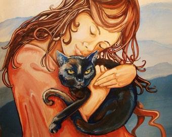 I'm Still Here, digital download jpeg 2MB, ethereal cat art, pet loss art