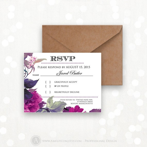 Printable rsvp card instant download lilac purple reply card for Printable rsvp card