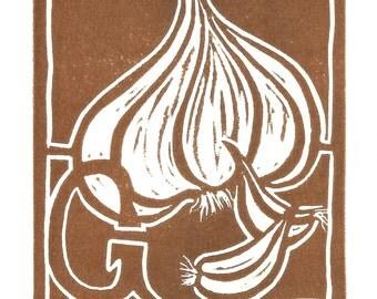 Garlic Clove linocut print