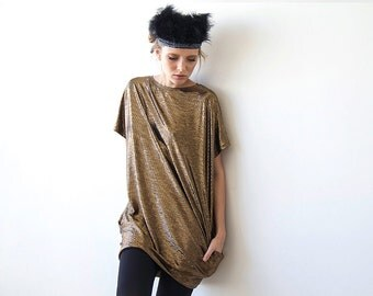 Metallic bronze tunic with pockets, Short sleeves mini dress 1038