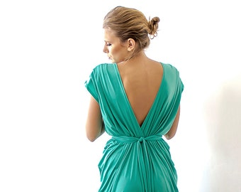 Kelly green maxi bridesmaids dress , Green short sleeves dress 1008
