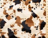 Velboa Wave Print Cow Tan 60 Inch Fabric by the Yard, 1 Yard
