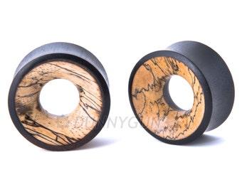 "5/8"" Pair Hollow Black Dogwood with Tamarind Wood Inlay Plugs - Organic Body Piercing Jewelry Gauged Earrings"