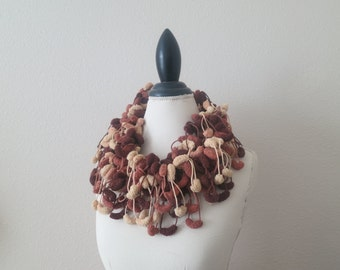 Brown Long Scarf | Crochet Scarf | Faded Ivory Brown Scarf | Puffy Bubble Scarf Accessories | Fashion Accessories