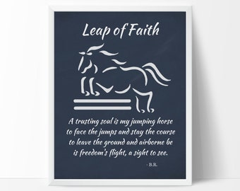 Jumping Horse Art Print, Leap of Faith Design & Poem, Equine Artist Sandra Beaulieu, Horse Printables, Horse Poems, Horse Holiday Gift