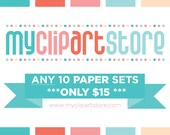 50% OFF - Pick ANY 10 Digital Paper Sets for just 15 Dollars - Digital Papers - Instant Download