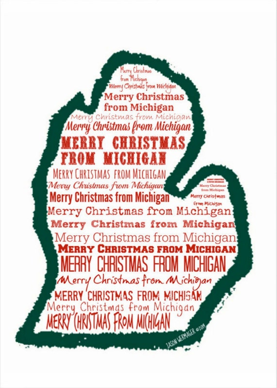 Michigan Mitten Christmas Card Birthday Card Holiday Card