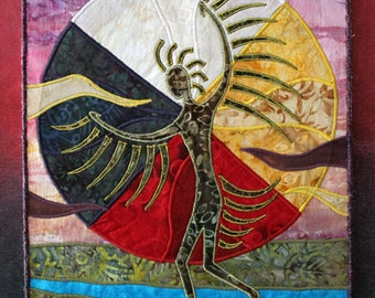 Native American Grass Dancer, four directions, sacred hoop, art quilt on canvas, landscape, home decor