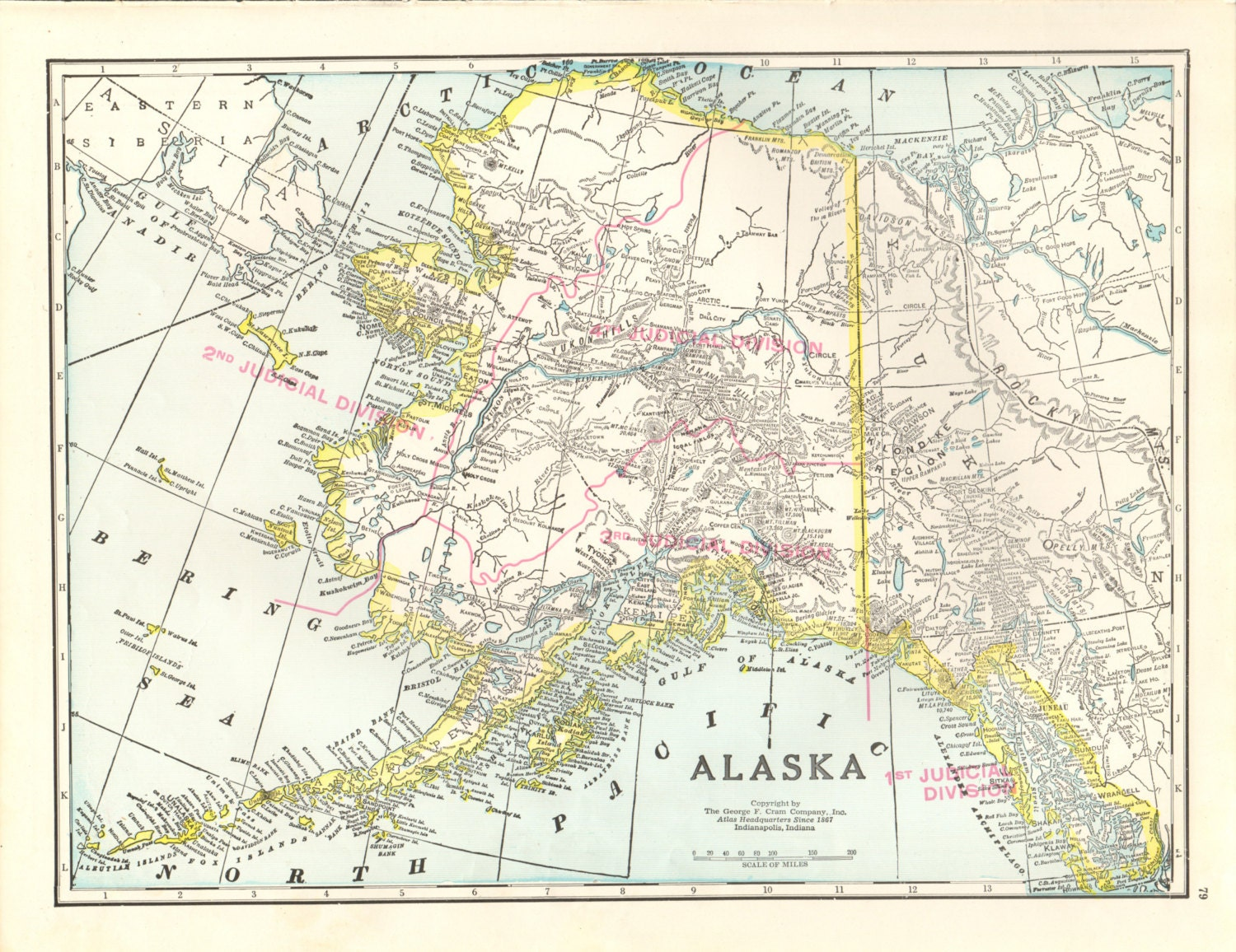 Vintage Map Of Alaska And Hawaii 15x115 By Amykristineprints