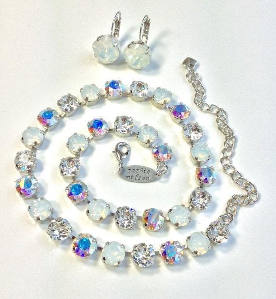 "Swarovski Crystal 8.5mm Necklace  - Designer Inspired -"" Bridal Whites ""    Crystal, White Opal and Aurora Borealis - FREE SHIPPING"