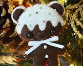 Dark Chocolate Peppermint Candy Cane Cookie Bear Felt Ornament / Cell Phone Strap / Keychain / Bag Charm