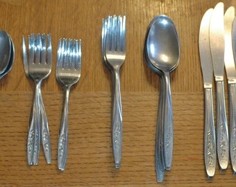 Vintage 41 Piece International Superior Stainless Steel Flatware...Radiant Rose...Made In USA!