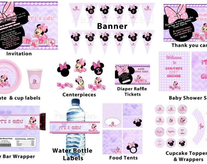 Personalized Minnie Mouse baby shower package: banner, cupcake toppers, water bottle labels, plates, cups, signs, candy bar wrapper...