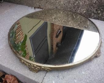Antique Round Plateau Mirror