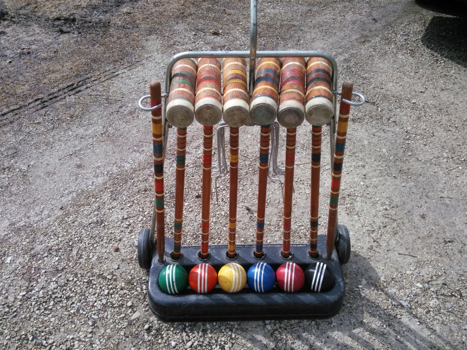 Vintage Six Player Croquet Set With Wheeled Cart By Judym2