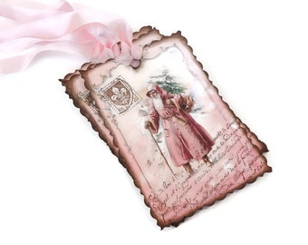 French Christmas Tags, Cottage Chic Holiday Tags, Shabby Pink Santa, Vintage Style Gift Tags, Set of 10