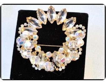 D&E Juliana Brooch -  Vintage Juliana Lovely Circles of Halos Clear and  Icy - Pin-426a-100212000