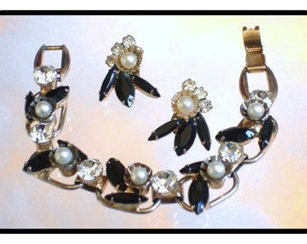 Juliana Bracelet Set -  WoW Must C - Black and Clear Rhinestones + Faux Pearls     Demi-961a-082514030