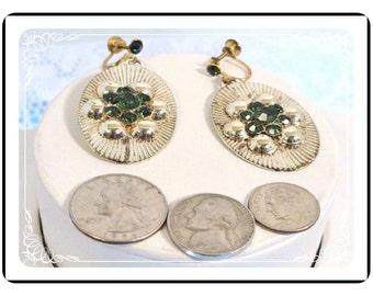 Oval Radiating Earrings - Flower w Green Rhinestones Vintage Earrings   E2101a-080512000