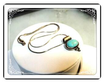 Sterling Silver Necklace Pendant - Vintage Modernist Turquoise Necklace Pendant   -   Neck-1288a-050713015