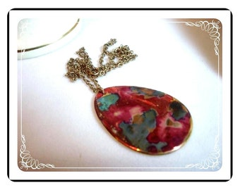 Red Pendant  Necklace - Vintage Abstract Glass Pendant & Chain Necklace 1970's Abstract Red Fused  Nrck-1124a-012312000