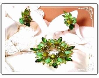 Green Juliana Set - Wowzer Lush  D and E  Juliana Raised  Green  Art Glass   Demi-158a-040709047