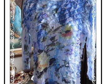 Ruffled Puff Blouse - Vintage Jess and Jane Blue Flowered   Size Small - CLO-121a-042214005