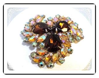 Sparkling Vintage Brooch - Rhinestone Aurora Borealis - Pin-1796a-121012000