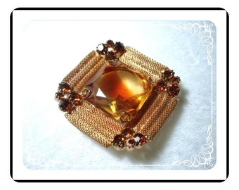 Vintage Brooch - Mesh w Golden Honey Rhinestone  Pin-1016a-040111000