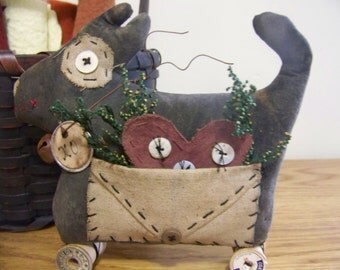 Primitive Puppy Love Valentine Decoration/Shelf Sitter/Cupboard Doll