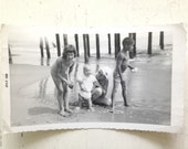 Vintage Mid Century Modern Beach Photo of family by the Pier 1960s Summer Snapshot
