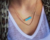 Layered Turquoise Bar and Chevron Necklace