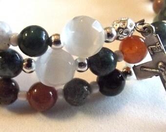 Christian Coil Rosary Bracelet in Jasper Stone