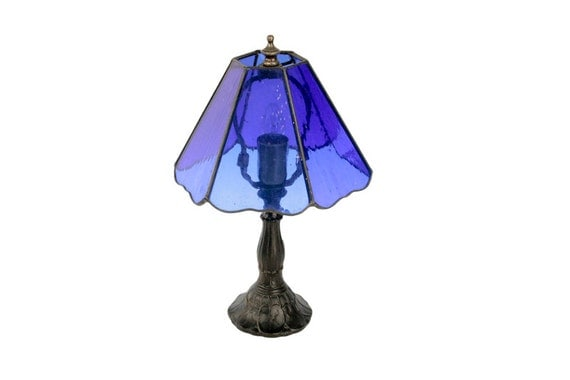 vintage cobalt blue glass table lamp cobalt blue night. Black Bedroom Furniture Sets. Home Design Ideas
