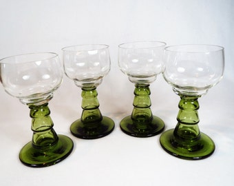 Set of 4 Hand Blown Roemer Wine Hock Glasses Green Hollow Stem Plus Free US Shipping