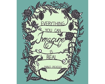 5x7 Papercut Illustration Print - Everything You Can Imagine - Inspirational Quote
