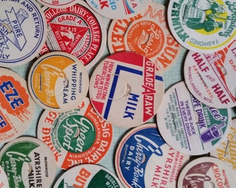 50 Vintage and Antique Milk Bottle Dairy Caps | Huge Assorted Mixed Lot | Craft Supply | Instant Collection