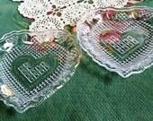 Glass Heart Dish, Vintage Fostoria Glass, Candy Dish, Heart Dish, Lead Crystal, Cut Glass, Crystal Glass, Set of 2