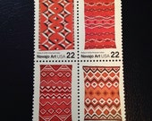 Navajo Art Blankets 1986 US Mint Stamps: MNH Block Set Use as Postage/ Gift for the Stamp Lover/ Frameable Art/ DIY art or Jewelry Supply