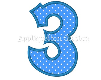 Number THREE Plain 3rd Birthday Applique Machine Embroidery Design blue third INSTANT DOWNLOAD