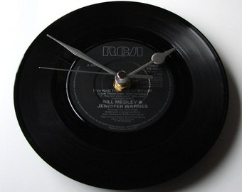 """Dirty Dancing CLOCK made from a recycled 7"""" single """"I've Had The Time Of My Life"""" recycled 7"""" vinyl record clock Bill Medley Jennifer Warnes"""