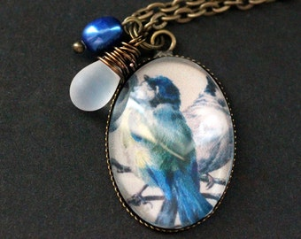 Blue Bird Necklace. Bluebird Pendant with Frosted Glass Teardrop and Pearl. Bird Charm Necklace. Wearable Art Jewelry. Handmade Jewellery.