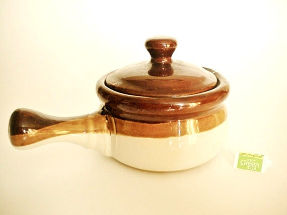 Vintage SOUP CROCK With Lid • Small Stoneware