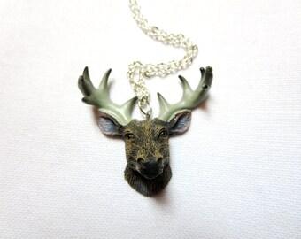 Deer Antler  - Turquoise stone  bronze antler pendant -Tiny Bambi Necklace -- silver Woodland Animal jewelry