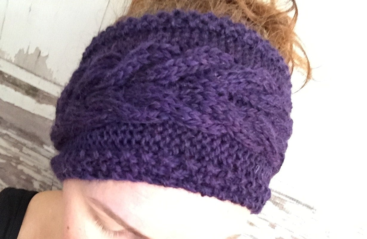 KNITTING PATTERN Cabled Corn Rows Headband Ear Warmer Baby to