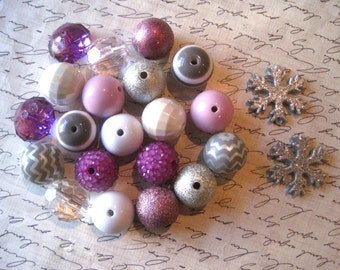 Purple Snowflake Necklace Kit, Gumball Bead Kit, Winter Necklace, Bubblegum Necklace Kit, Lavender, Silver and White Beads, DIY Necklaces
