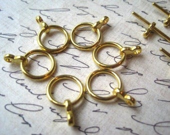 Round Toggle Clasps, Gold Color, 6 to 20 sets, Necklace Closure, Bracelet Clasp, Jewelry Finding, Clasp Finding