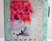 A5 calendar 2015 - daily planner or weekly planner with unique fabriccover
